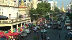 The road to Sule Paya with fruit market,Yangon,Burma Stock Footage