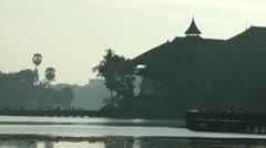 Kandawgyi park lake in backlight,Yangon,Burma Stock Footage