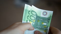 Take and count money euro Stock Footage