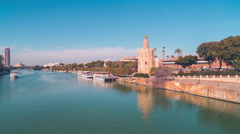 Seville torre del oro river bay day light 4k time lapse 4k spain Stock Footage