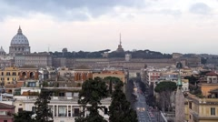 Dawn over Rome. Via del Corso. Italy. Time Lapse. 1280x720 Stock Footage