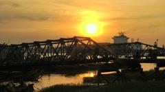Sunset at Jetty,Yangon,Burma Stock Footage