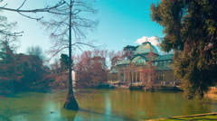 Madrid famous pond view on crystal palace 4k time lapse panorama spain Stock Footage