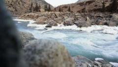 Mountain river on a background of rocky mountains Stock Footage