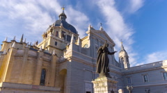 madrid day blue sky almudena cathedral front view 4k time lapse spain - stock footage