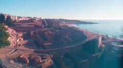 Spain tarragona amphitheatre mediterranean sea panorama 4k time lapse Stock Footage