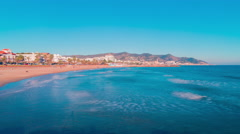 Spain sun light sitges town panorama 4k time lapse Stock Footage