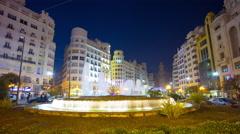 Spain valencia night light main square fountain 4k time lapse Stock Footage