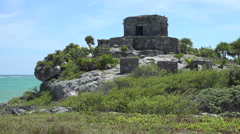 Mayan Ruins - Temple Pyramid Building - Closeup Stock Footage