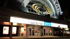 Night view of cineplex odeon theater - stock footage