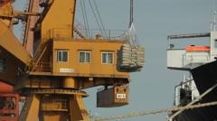 Warf cargo cranes,Yangon,Burma Stock Footage