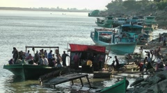 Jetty riverfront,Katha,Burma Stock Footage