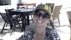 Beach Cafe Woman Smiling Stock Footage