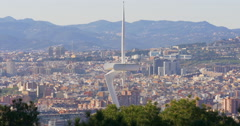 Olimpic monument barcelona sun light panorama 4k spain Stock Footage