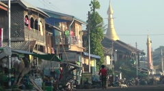 Main riverfront road,Katha,Burma Stock Footage