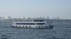 Beribboned sightseeing, cruise, excursion, trip, boat is departing - stock footage