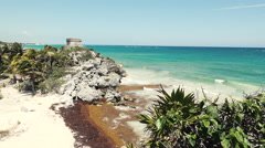 Mayan Ruins - Temple Overlooking Beach - Long Shot Stock Footage