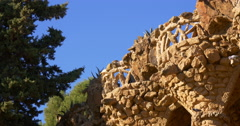 sun light barcelona gaudi park guell balcony 4k spain - stock footage