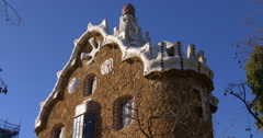 sunny day barcelona guell park gaudi building close up blue sky view 4k spain - stock footage