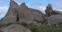 Mount Wellington Tasmania pan down rock Stock Footage