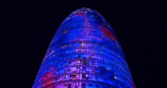 Barcelona night light agbar tower high view 4k spain Stock Footage