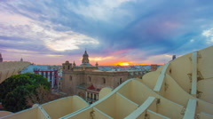 Seville sunset sky metropol parasol observation deck 4k time lapse spain Stock Footage