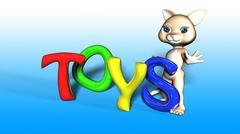 Toon Cat Figure with TOYS text - stock illustration