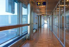 Empty corridor in the modern office building. Stock Photos