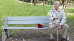 Portrait of a Senior Elderly Man Sitting on a Park Bench with Roses Stock Footage