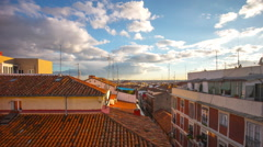Madrid sun light living block roof top panoramic view 4k time lapse spain Stock Footage