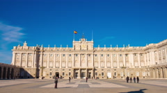 Sunny day blue sky royal palace of madrid 4k time lapse spain Stock Footage