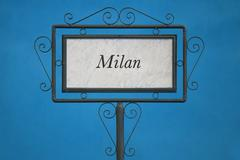 Milan City on a Signboard - stock photo