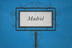Madrid on a Signboard - stock photo