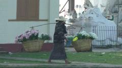 Flower seller walks past temple,Katha,Burma Stock Footage