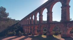 Spain tarragona sunny day pont del diablo panoramic view 4k time lapse Stock Footage