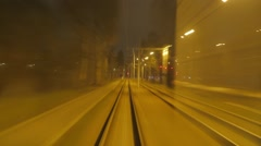 A short night ride on the tram Number 11, Sofia, Bulgaria Stock Footage