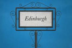 Edinburgh on a Signboard - stock photo