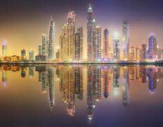 Stock Photo of The beauty panorama of Dubai marina. UAE