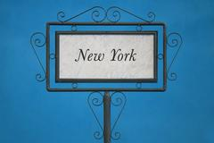 New York on a Signboard - stock photo