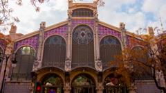 spain day light valencia city market exterior 4k time lapse - stock footage