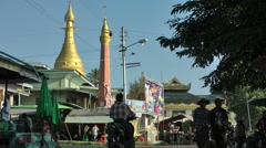 Katha main riverfront road,Katha,Burma Stock Footage