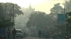 Early morning haze,Bhamo,Burma Stock Footage