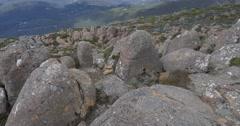 Mount Wellington Tasmania pan up to horizon Stock Footage