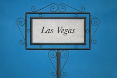 Las Vegas on a Signboard. - stock photo