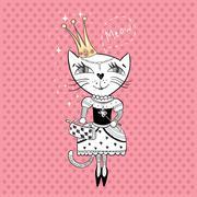 Royal cat - stock illustration