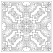 unique coloring book square page for adults - floral carpet desi - stock illustration