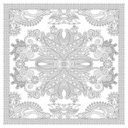 Stock Illustration of coloring book square page for adults - ethnic floral carpet desi