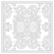 coloring book square page for adults - ethnic floral carpet desi - stock illustration