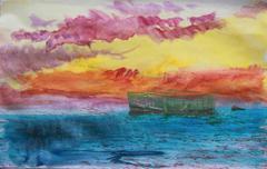 Vintage postcard of boat Stock Illustration