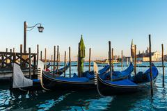Gondolas moored on the Piazza San Marco in the Italian city of Venice Kuvituskuvat